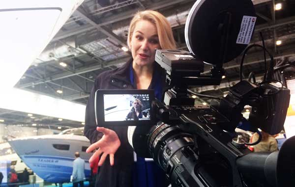 Filming at London Boat Show